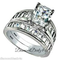 4.5 CT 925 Sterling Silver Rectangle Engagement Ring Wedding Band Set size 4-11