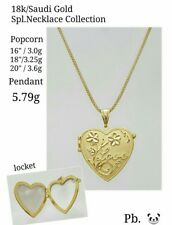Gold Authentic 18k saudi gold necklace with heart love pendant lacket,,16 inches