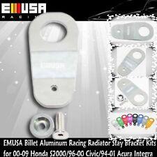 EMUSA Billet Aluminum RacingRadiatorStay Bracket Kit fit 00-09 S2000 AP1 SILVER