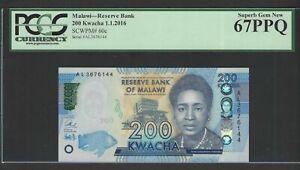 Malawi 200 Kwacha 1-1-2016 P60c Uncirculated Graded 67