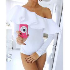 UK Womens Ladies One Shoulder Long Sleeve Bodysuit Playsuit Summer Leotard Top XL White