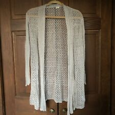 EILEEN FISHER CREAM LACE LINEN OPEN FRONT CARDIGAN