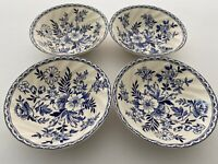 "Johnson Brothers Devon Cottage Set of Four 6"" Cereal Bowls, Blue and White Bowls"