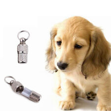 2x Anti-Lost Pet Dog Cat ID Stainless Steel Tag Name Address Barrel Tube HF