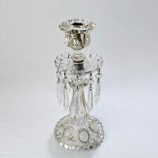 Antique Unmarked Enamel & Gilt Baccarat Style Glass Medallion Candlestick - GL