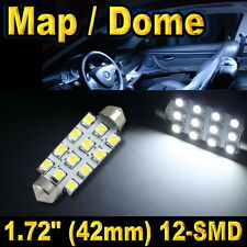 "1x 1.72"" 42mm 12-SMD Festoon Super White LED For Map Dome Lights Bulbs 211-2 578"