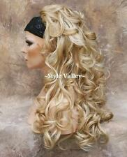 Blonde MIX 3/4 Fall HairPiece Long Curly Layered Half Wig Hair Piece Gorgeous!