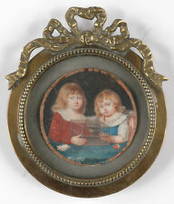 """Portrait of two children"" German miniature on natural material, 1791"