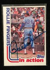 ROLLIE FINGERS 1992 TOPPS AUTOGRAPHED SIGNED AUTO BASEBALL CARD 586 HOF BREWERS