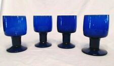 "VINTAGE COBALT BLUE GLASS GOBLETS SET OF 4, 10 OUNCE & 5-1/4"" GORGEOUS, MINT"