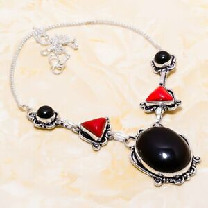 """Black Onyx, Red Coral Gemstone Handmade Ethnic Gift Jewelry Necklace 18"""" n204"""