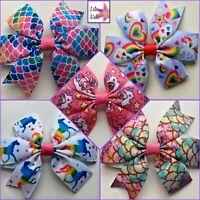 "Unicorns, Rainbows, Mermaids, Hearts, Stars, Flamingos Hair Bows -3"" MultiColour"