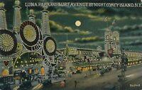 BROOKLYN NY - Coney Island Luna Park and Surf Avenue By Night