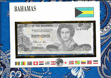 E Banknotes of All Nations Bahamas 50 Cents 1984 P42  AUNC A545333 Allen