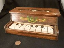 Toy Piano Chime Antique 1900 Edwardian Wood WORKS! Mahogany All Original Childs