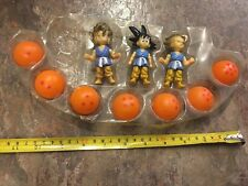 3 Chibi Goku Dragon Ball Z GT Figure Set Hard Plastic Screw Vintage W 7 Balls Ss