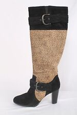 Born Crown Size 8M Black Suede with Dyed Pony Hair Knee High Boots 718 B916