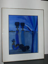 African women painting by Erica 1987.Peinture femmes africaine color couleurblue