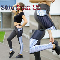 US Push Up Stripe Fitness Leggings Pockets Sport Yoga Gym Pants Workout Trousers