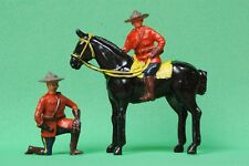 CRESCENT TOYS LEAD RCMP MOUNTED OFFICER & KNEELING at EASE ~ FINE EXAMPLES...!!