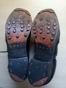 Vintage Sanders & Sanders Black Wing Tip Hobnailed Black Shoes Size 7 Dated 1982