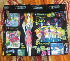 """LeSportsac Graphic Zipper Pouch Wallet  Cosmetic Bag Case 8 1/2 X 8"""""""