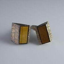 Tigers Eye Tiki Hut Sterling Silver gold Plated Cuff Links Cufflinks Mens 925
