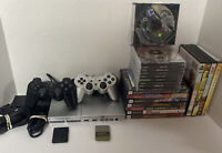 MEGA RACING BUNDLE! PS2 PlayStation 2 Slim SILVER Console w/ 2 OEM Cons & Cables