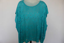 REDUCED - FILO Free Size Aqua Blue 100% Cotton Holey Knit Top
