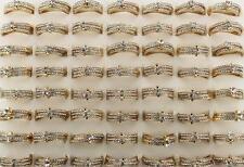 Wholesale Bulk Lots 25pcs Rhinestone 3pcs in 1 Gold P Noble Classic Women Rings