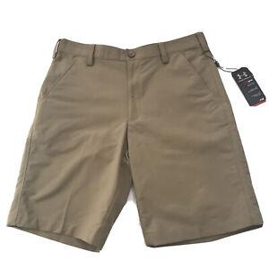 Under Armour Heat Gear Shorts Size 32 Loose Fit Golf Khaki Mens Athletic Beige