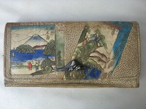 Antique Japan Hand Painted Tooled Leather Wallet Clutch Purse Japanese MT FUJI
