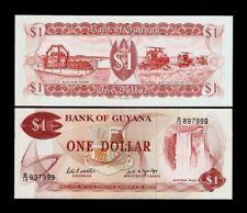 GUYANA 1 DOLLAR P21 F 1989 BUSH POLDER FALLS RICE UNC AMERICA MONEY BANK NOTE