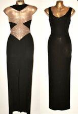 JIKI MONTE CARLO IKITO 38/ 8-10 Stunning Vintage 90's Black Swarovski Maxi Dress
