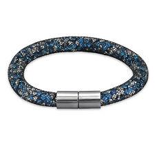 TJS Stardust Black Mesh Tube Bracelet Magnetic Clasp Blue Clear Crystal Sparkle