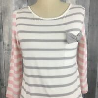 Womans ELLE White with Gray Pink Stripe Bow Knit Top 3/4 Sleeve Size Small