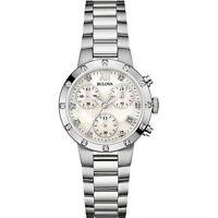 Bulova Women's 96R202 Quartz Diamond Accents Chronograph Silver-Tone 30mm Watch