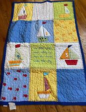 Pottery Barn Kids Nautical Sailboats Fish Ocean Patchwork Crib Quilt 33x49