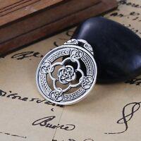 5PCs Sliver Tone Carve Celtic Knot Round Alloy Pendant 3.3x2.9cm For Necklace