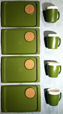 Vintage THERM WARE / ACCA - SET OF 4 CUPS + 4 SERVING TRAYS  Avocado Green