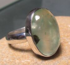 925 silver oval prehnite cabochon stone ring UK O½/US 7.5.