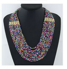 Handmade Women Multicolor Seed Beads Bib Necklace Boho Multi-Layer Chain Jewelry