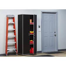 Tall Warehouse Metal Cabinet Workshop Car Garage Storage 4-Shelf Furniture Black