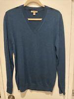 Burberry Brit Teal V Neck Long Sleeve Shoulder Nova Check Sweater Size M - WOOL