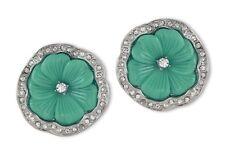 Kenneth Jay Lane Rhodium Rhinestone Jade Resin Pansy Flower Clip Earrings