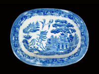 """Very Old • Staffordshire • Blue Willow • 6 1/4"""" X  4 3/4"""" Bowl or Soap Dish•Neat"""