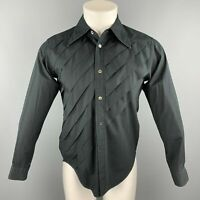 COMME des GARCONS HOMME PLUS Size XS Black Pleated Cotton Long Sleeve Shirt