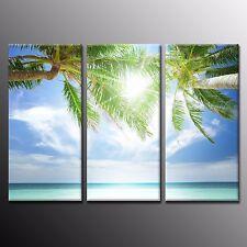 FRAMED Canvas Print Poster Decor White Sun Beach Wall Art For Room Decor-3pcs