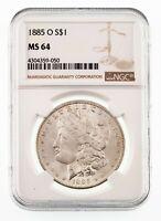 1885-O $1 Silver Morgan Dollar Graded by NGC as MS-64
