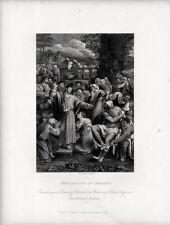 Stampa antica RESURREZIONE DI LAZZARO da Sebastiano del Piombo 1840 Old print